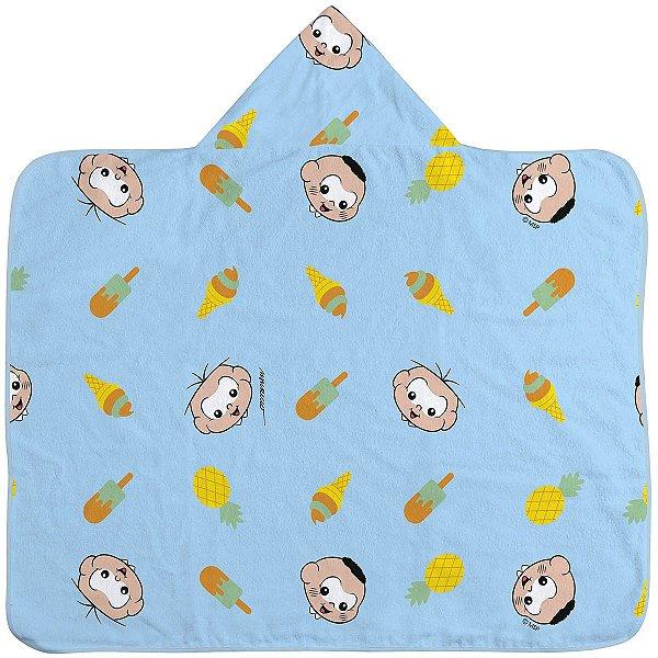 Toalha de banho para bebê com capuz Cebolinha e Cascão
