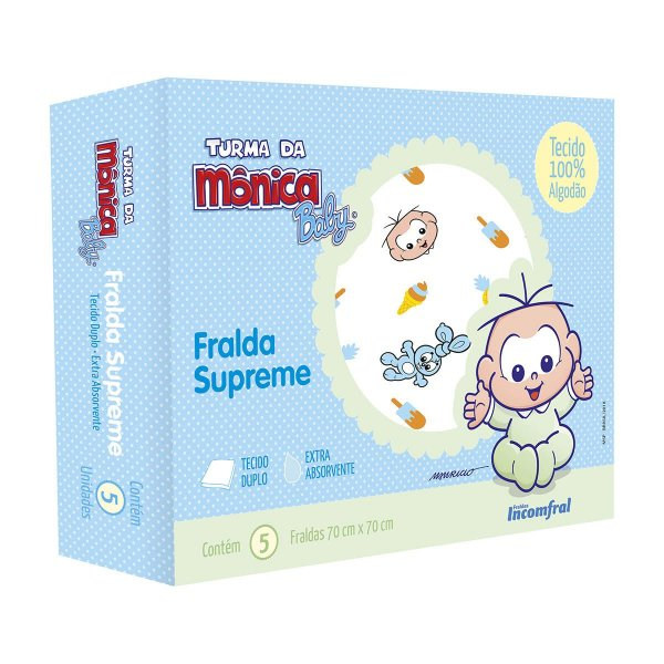 Fralda de pano para bebê Supreme Turma da Mônica Baby Cebolinha Caixa com 5 unidades
