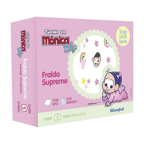 Fralda de pano para bebê Supreme Turma da Mônica Baby Caixa com 5 unidades