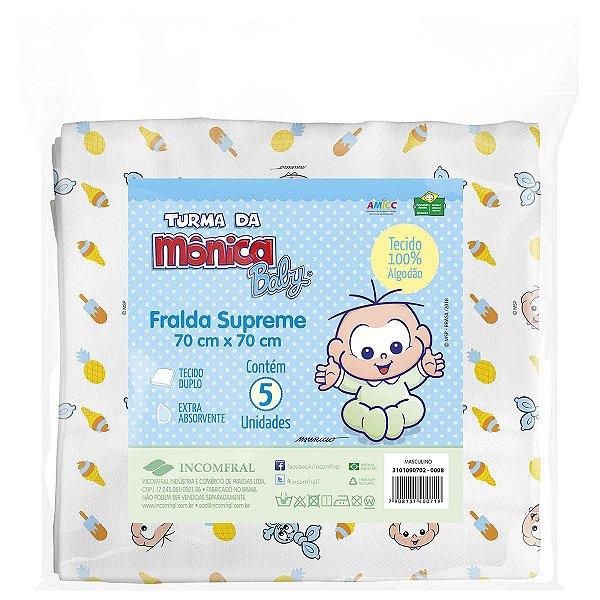 Fralda de pano para bebê Supreme Cebolinha Baby Pacote com 5 unidades
