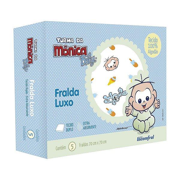 Fralda de pano Luxo para bebê Turma da Mônica Baby Cebolinha Caixa com 5 unidades