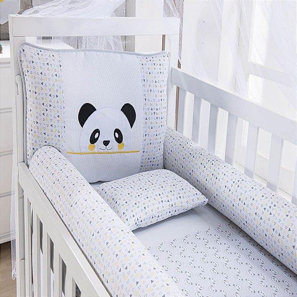 Kit Berço 09 Peças em Malha Panda