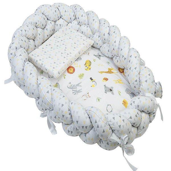 Ninho Trança + Travesseiro Antissufocante Estampado Neutro