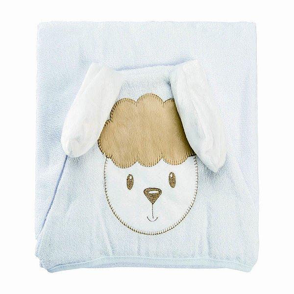 Toalha de Banho para Bebê Bordada com Capuz e Forro de Fralda Ovelhinha
