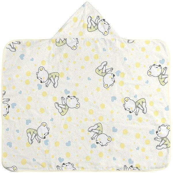 Toalha de banho Estampada com Capuz e Forro de Fralda Amarela Ursinho