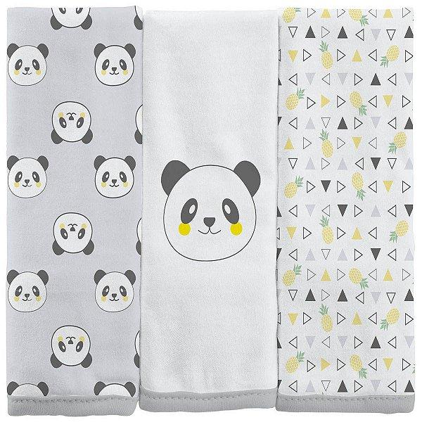 Fralda de Boca em Malha 03 Peças Panda