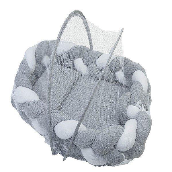 Ninho Trança + Travesseiro + Mosquiteiro Mescla com Branco