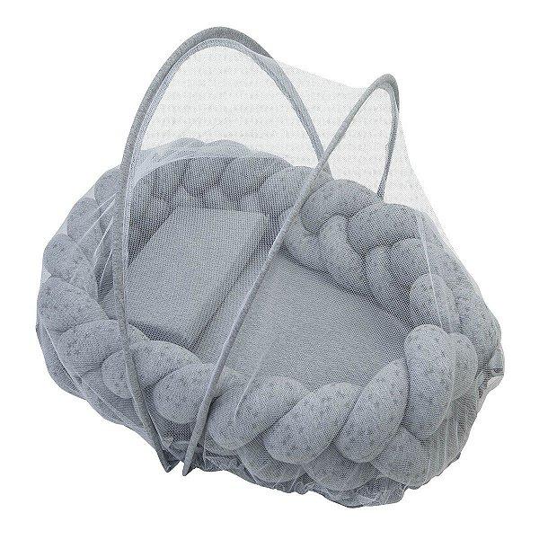 Ninho Trança + Travesseiro + Mosquiteiro Mescla Prata