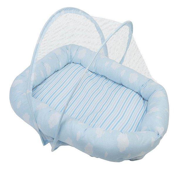 Ninho + Mosquiteiro 150 Fios Cor Azul