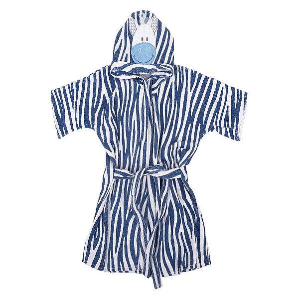 Roupão com Capuz Bordado Zebra Azul Marinho