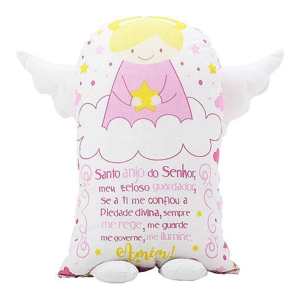 Travesseiro Naninha 150 fios Oração Anjinho da Guarda Rosa