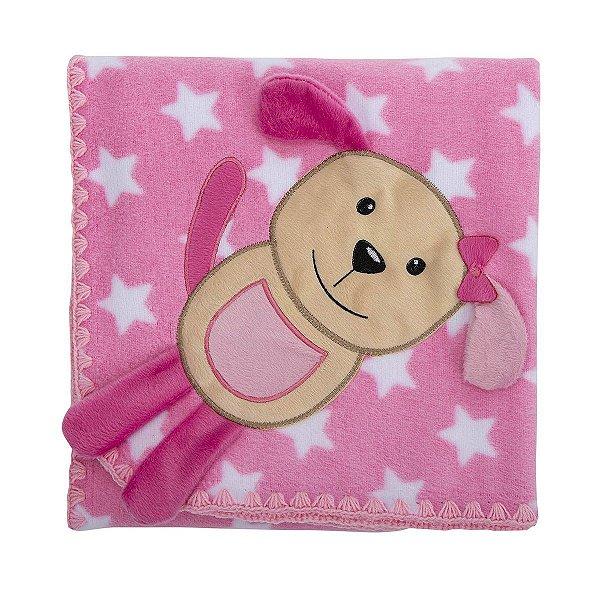 Cobertor para Bebê Estampado com Bordado Cachorrinha Estrela