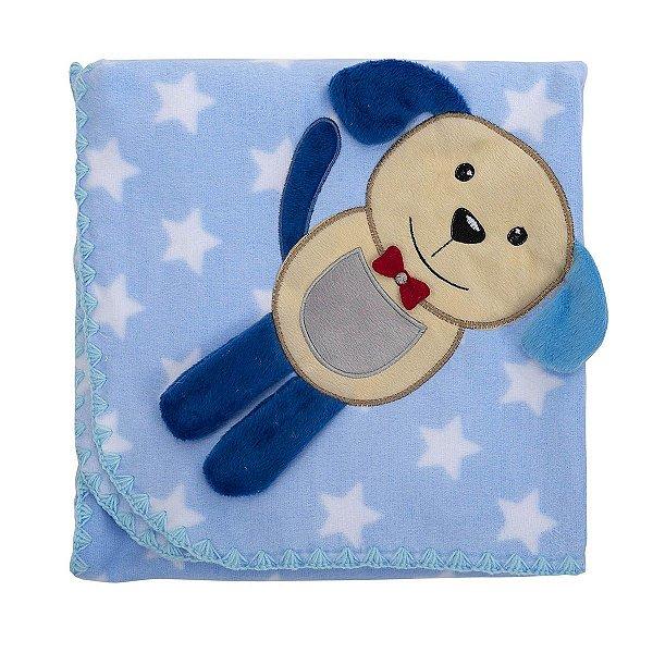 Cobertor para bebê Estampado com Bordado Azul Cachorrinho