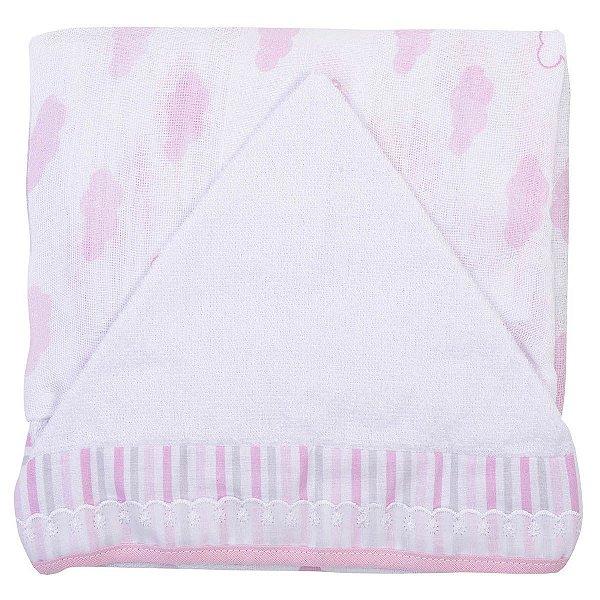 Toalha Fralda Luxo com Capuz Rosa Estampada