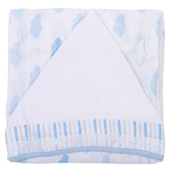 Toalha Fralda Luxo com Capuz Estampada Azul