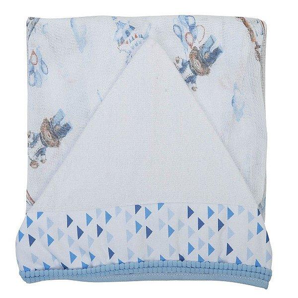 Toalha Fralda Supreme estampada com Capuz Azul