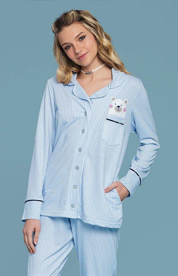 9400d86f6769db Pijama Feminino Manga Longa Bear Mensageiro Dos Sonhos