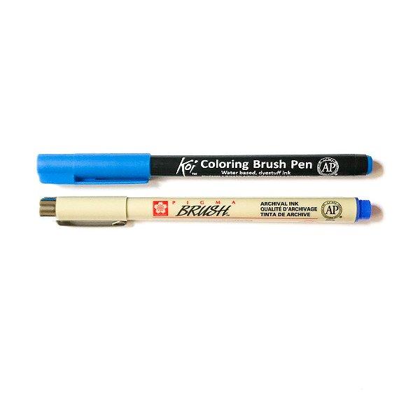 Duo de canetas Sakura tons azuis