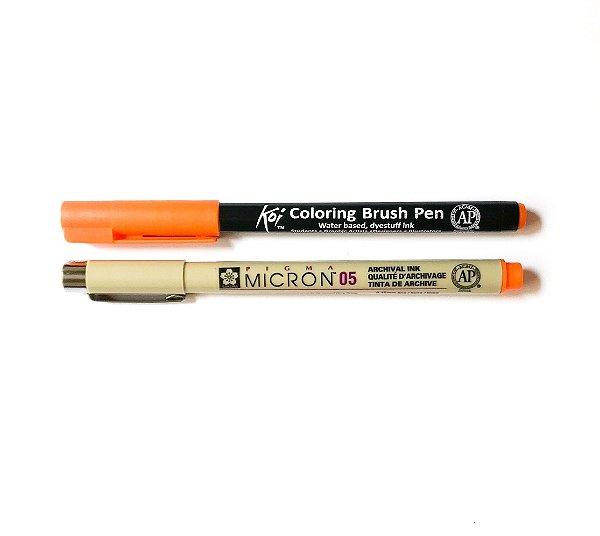 Duo de canetas Sakura tons laranjas
