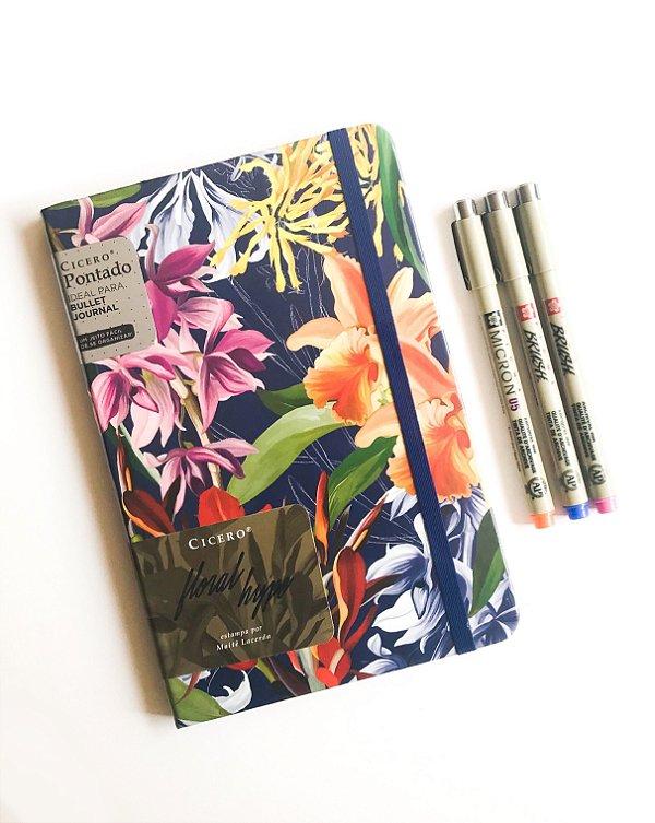 Kit Bujo 2: Cicero Floral Hype + Duo de canetas Pigma Brush + Pigma Micron
