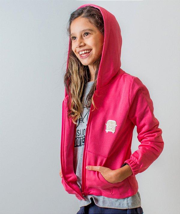 casaco moletom ziper pink