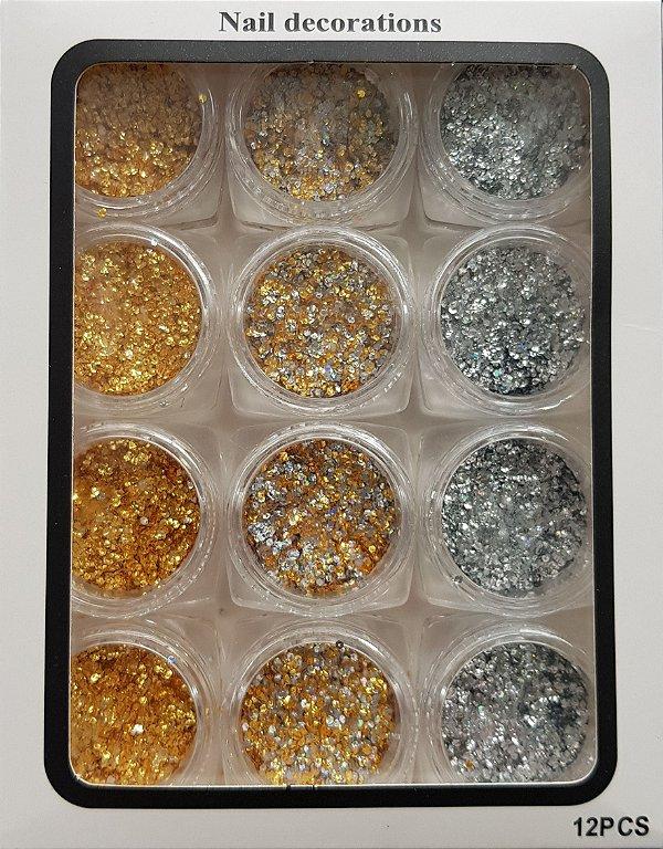 Gliter dourado e prata
