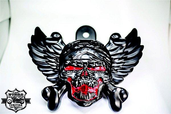Capa da Buzina - modelo WingSkull - preta/vermelha - VRodKings