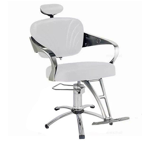 Cadeira Adelle Hidráulica Para Salão Cabeleireiro, Branca - Dompel