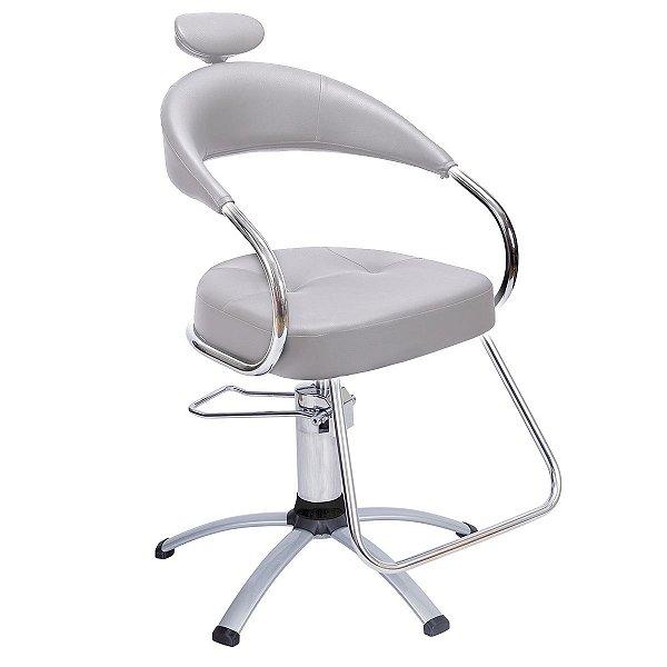 Cadeira Futura Hidráulica Alumínio Para Salão Cabeleireiro, Prata - Dompel