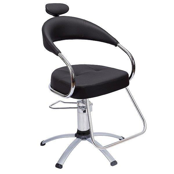 Cadeira Futura Hidráulica Alumínio Para Salão Cabeleireiro, Preta - Dompel