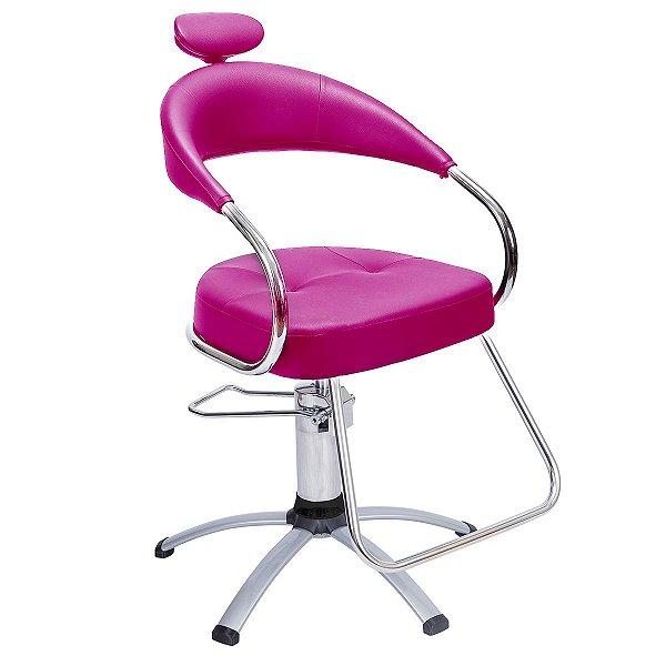 Cadeira Futura Hidráulica Alumínio Para Salão Cabeleireiro, Rosa - Dompel