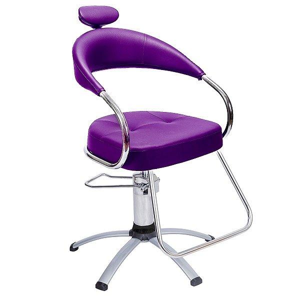Cadeira Futura Hidráulica Alumínio Para Salão Cabeleireiro, Roxa - Dompel