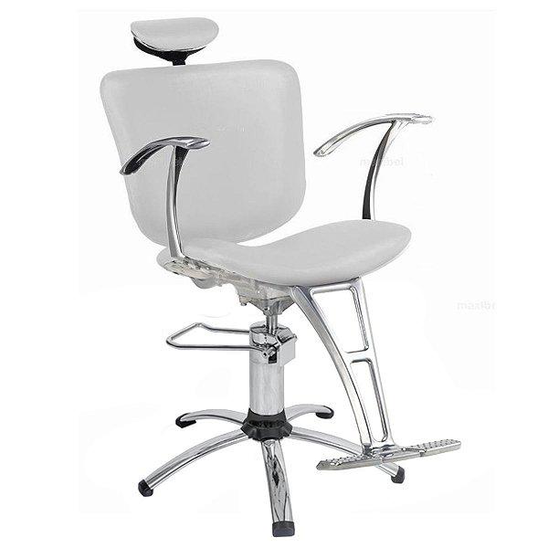 Cadeira Lúmia Hidráulica Reclinável Para Salão Maquiagem Cabeleireiro, Branca - Dompel