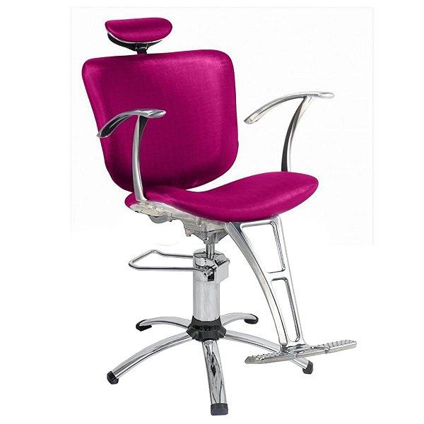 Cadeira Lúmia Hidráulica Reclinável Para Salão Maquiagem Cabeleireiro, Rosa - Dompel