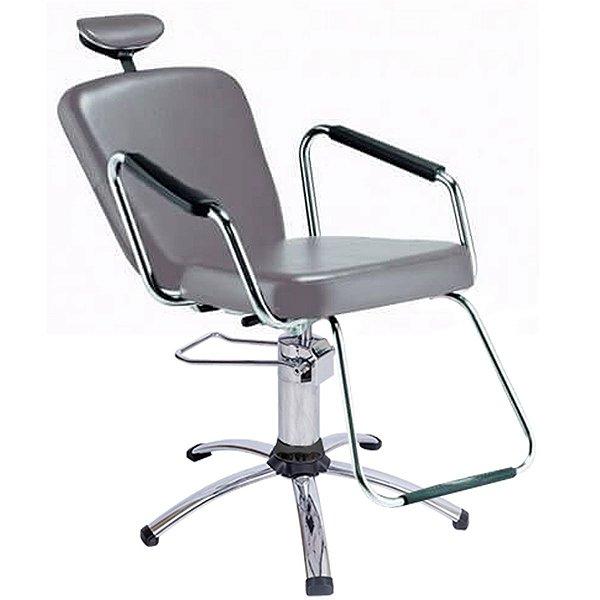 Cadeira Reclinável Alumínio para Barbeiro e Maquiagem, Prata - Nix Dompel