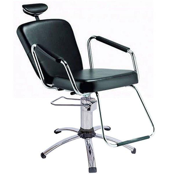 Cadeira Reclinável Alumínio para Barbeiro e Maquiagem, Preta - Nix Dompel