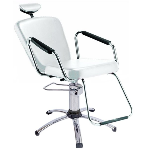 Cadeira Reclinável para Barbeiro e Maquiagem, Branca - Nix Dompel