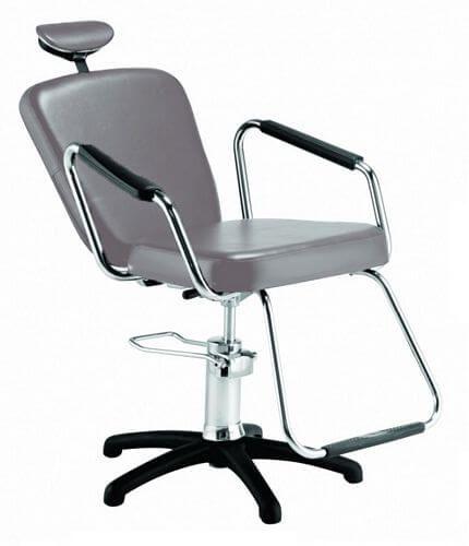Cadeira Nix Hidráulica Reclinável para Barbeiro e Maquiagem, Prata - Dompel