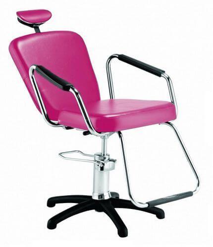 Cadeira Nix Hidráulica Reclinável para Barbeiro e Maquiagem, Rosa - Dompel