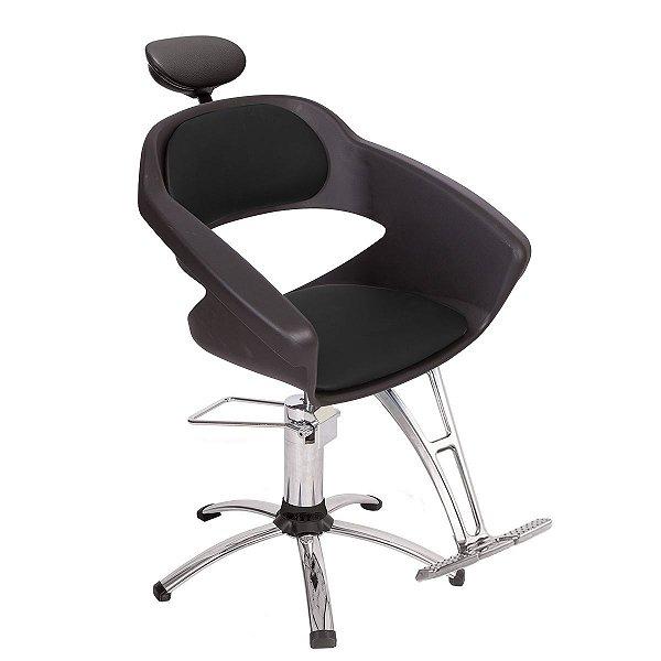 Cadeira Primma Hidráulica Alumínio para Salão Cabeleireiro, Marrom Tabaco - Dompel
