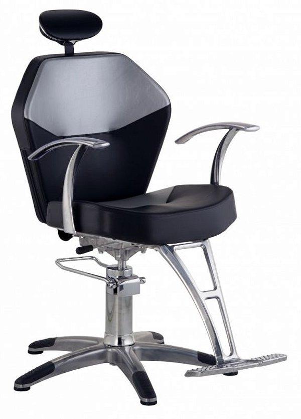 Cadeira Romana Hidráulica Reclinável para Barbeiro Barbearia, Preto com Prata - Dompel