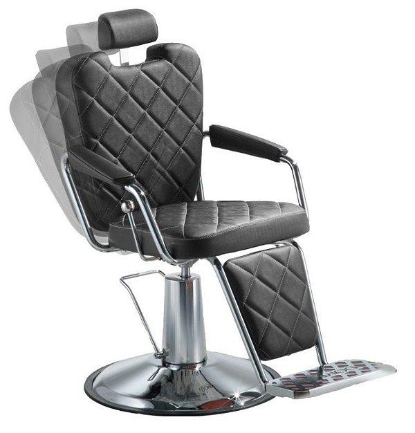 Cadeira de Barbeiro Reclinável e Hidráulica, Preta - Texas Wood Dompel