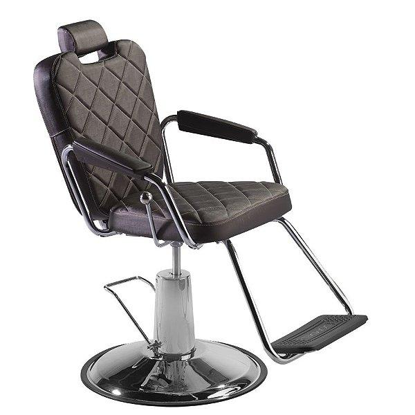 Cadeira de Barbeiro Reclinável e Hidráulica, Marrom Tabaco - Texas Dompel