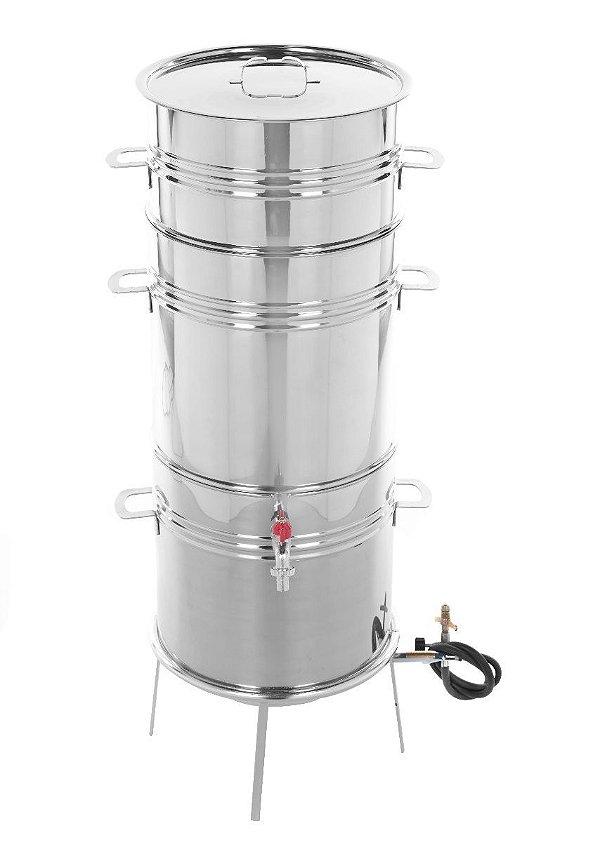 Suqueira Inox Panela Máquina P/ Fazer Suco, 18kgs, C/ Fogareiro