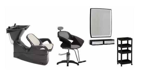 Kit Cabeleireiro: Cadeira, Lavatório, Espelho, Carrinho - PRETO