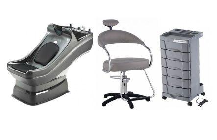 Kit Cabeleireiro Francis : Cadeira, Lavatório, Carrinho Auxiliar - CINZA