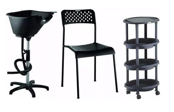 Kit Salão de Beleza:  Lavatório Portátil, Cadeira e Carrinho Clean