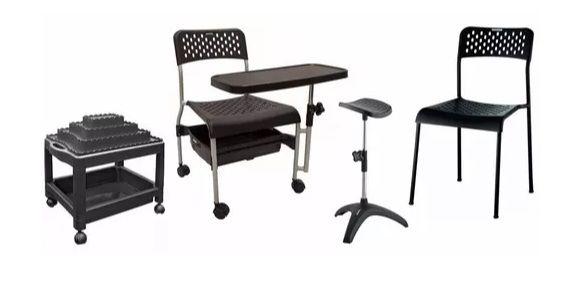 Kit Salão Manicure Básico: Cirandinha Carrinho Tripé Cadeira - PRETO