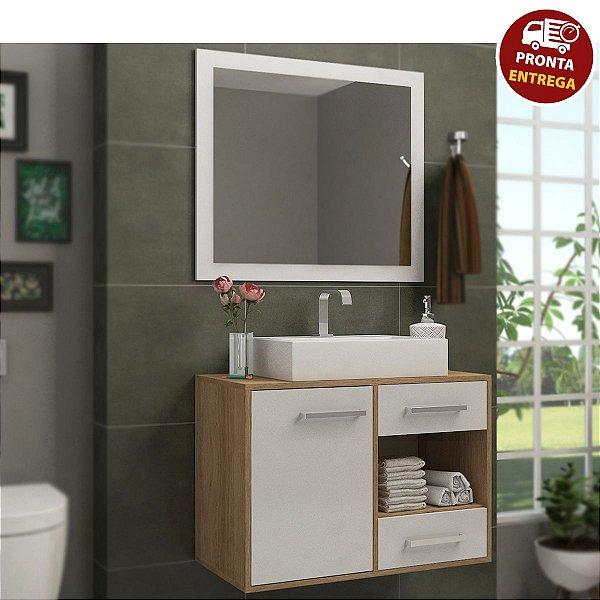 Conjunto de Banheiro Completo Personal: Balcão + Painel + Cuba- Elmo/Branco