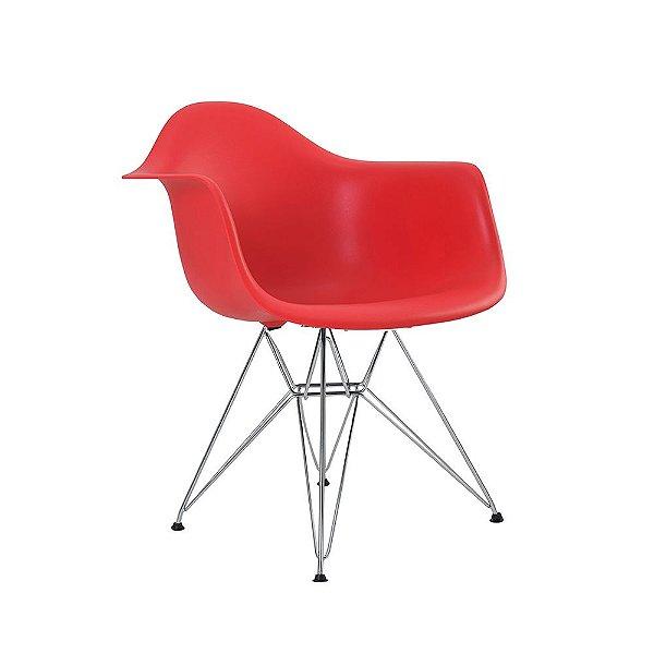 Cadeira Eiffel Assento Polipropileno Vermelho Pés Cromados